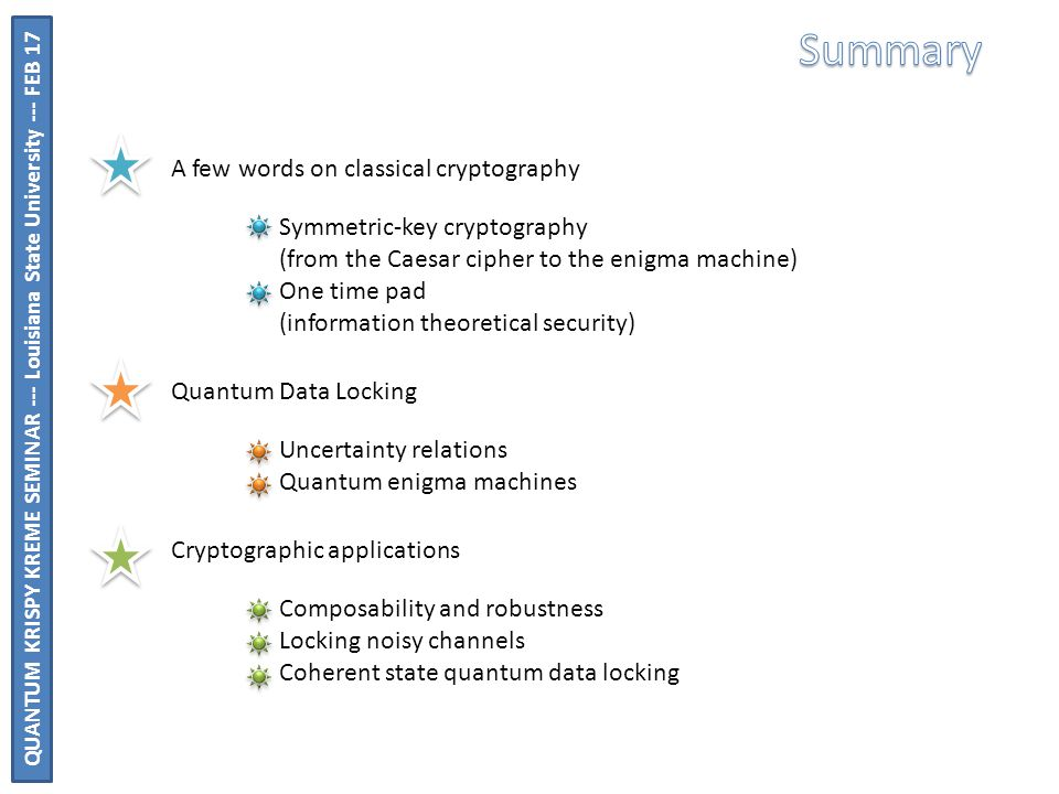 A few words on classical cryptography Quantum Data Locking Cryptographic applications Symmetric-key cryptography (from the Caesar cipher to the enigma machine) One time pad (information theoretical security) Uncertainty relations Quantum enigma machines Composability and robustness Locking noisy channels Coherent state quantum data locking QUANTUM KRISPY KREME SEMINAR --- Louisiana State University --- FEB 17