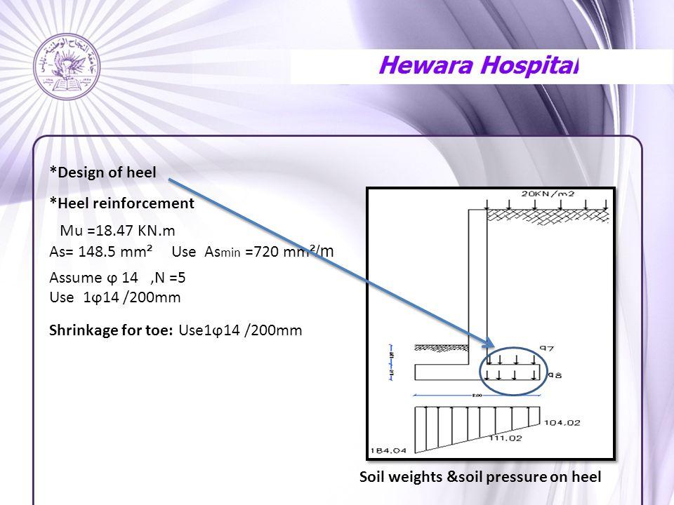 *Design of heel *Heel reinforcement Mu =18.47 KN.m As= 148.5 mm ² Use As min =720 mm ²/m Assume ϕ 14,N =5 Use 1ϕ14 /200mm Shrinkage for toe: Use1ϕ14 /200mm Soil weights &soil pressure on heel