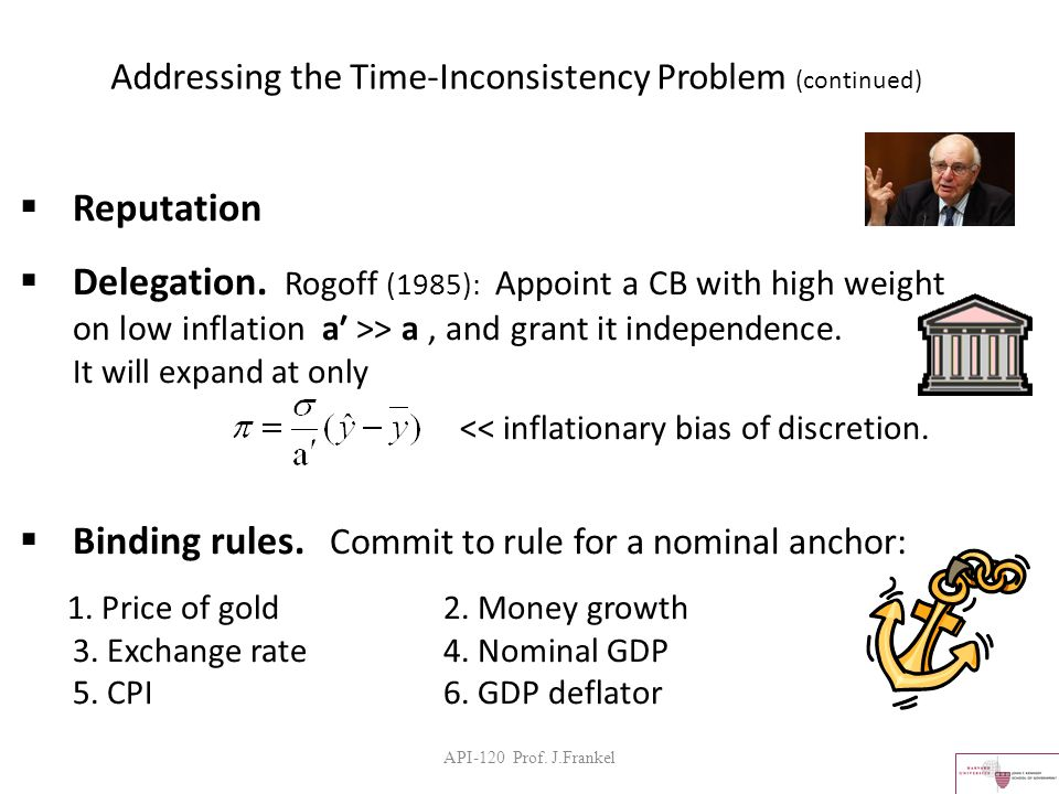 API-120 Prof. J.Frankel Addressing the Time-Inconsistency Problem (continued)  Reputation  Delegation. Rogoff (1985): Appoint a CB with high weight