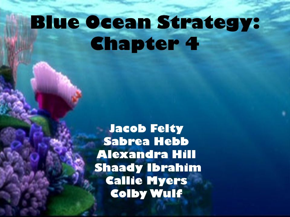 Blue Ocean Strategy: Chapter 4 Jacob Felty Sabrea Hebb Alexandra Hill Shaady Ibrahim Callie Myers Colby Wulf