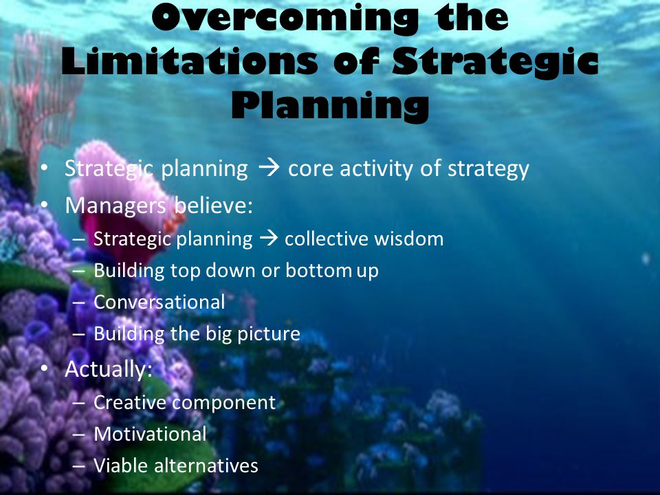 Overcoming the Limitations of Strategic Planning Strategic planning  core activity of strategy Managers believe: – Strategic planning  collective wi