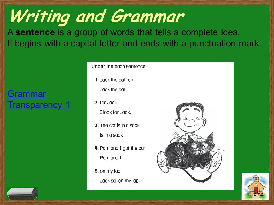 Home Writing and Grammar A sentence is a group of words that tells a complete idea. It begins with a capital letter and ends with a punctuation mark.