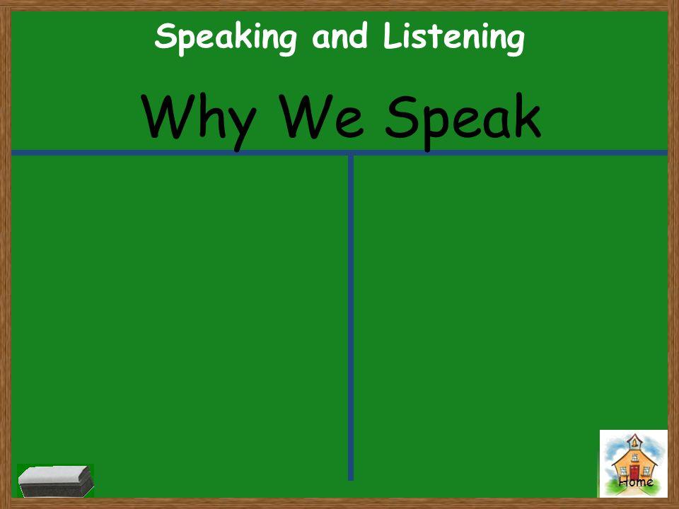 Home Speaking and Listening Why We Speak