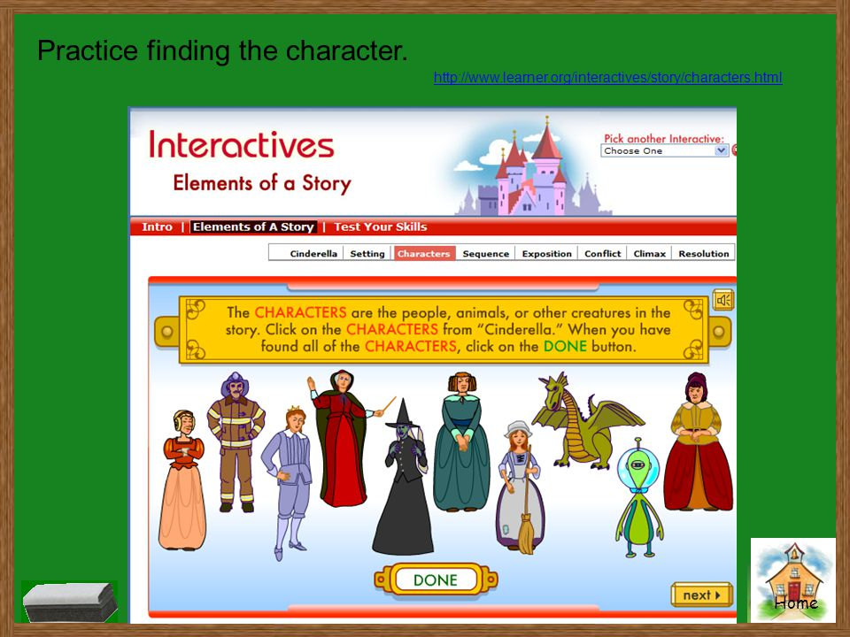 Home Practice finding the character. http://www.learner.org/interactives/story/characters.html