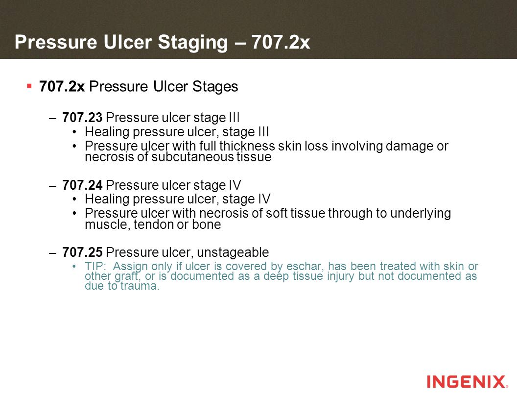 Pressure Ulcer Staging – 707.2x  707.2x Pressure Ulcer Stages –707.23 Pressure ulcer stage III Healing pressure ulcer, stage III Pressure ulcer with full thickness skin loss involving damage or necrosis of subcutaneous tissue –707.24 Pressure ulcer stage IV Healing pressure ulcer, stage IV Pressure ulcer with necrosis of soft tissue through to underlying muscle, tendon or bone –707.25 Pressure ulcer, unstageable TIP: Assign only if ulcer is covered by eschar, has been treated with skin or other graft, or is documented as a deep tissue injury but not documented as due to trauma.