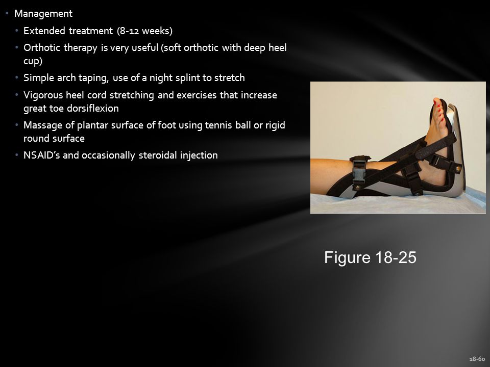 18-60 Management Extended treatment (8-12 weeks) Orthotic therapy is very useful (soft orthotic with deep heel cup) Simple arch taping, use of a night splint to stretch Vigorous heel cord stretching and exercises that increase great toe dorsiflexion Massage of plantar surface of foot using tennis ball or rigid round surface NSAID's and occasionally steroidal injection Figure 18-25