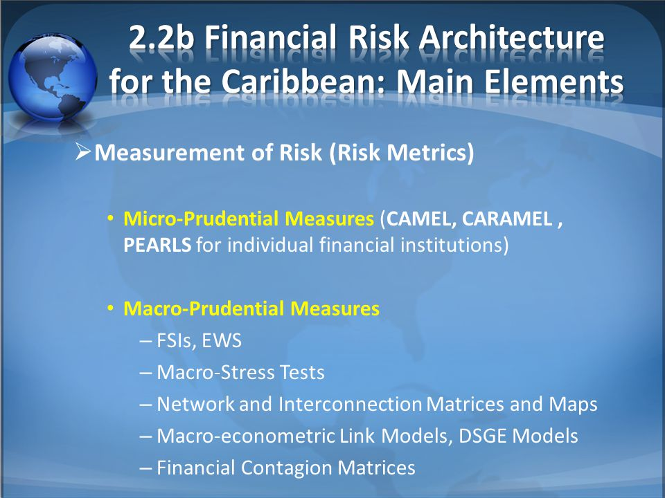  Measurement of Risk (Risk Metrics) Micro-Prudential Measures (CAMEL, CARAMEL, PEARLS for individual financial institutions) Macro-Prudential Measures – FSIs, EWS – Macro-Stress Tests – Network and Interconnection Matrices and Maps – Macro-econometric Link Models, DSGE Models – Financial Contagion Matrices