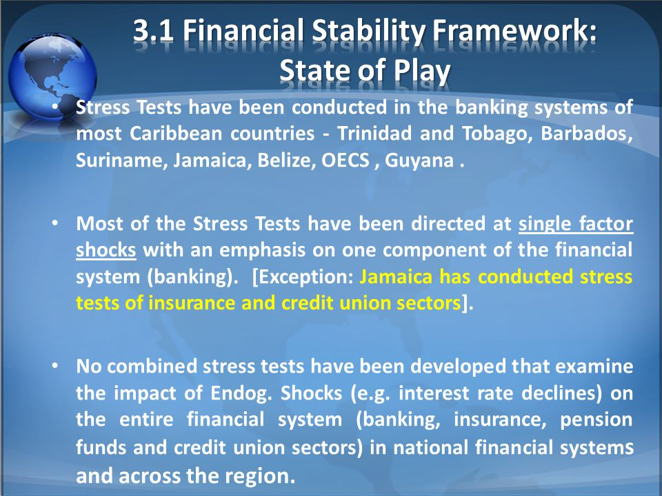 Stress Tests have been conducted in the banking systems of most Caribbean countries - Trinidad and Tobago, Barbados, Suriname, Jamaica, Belize, OECS, Guyana.