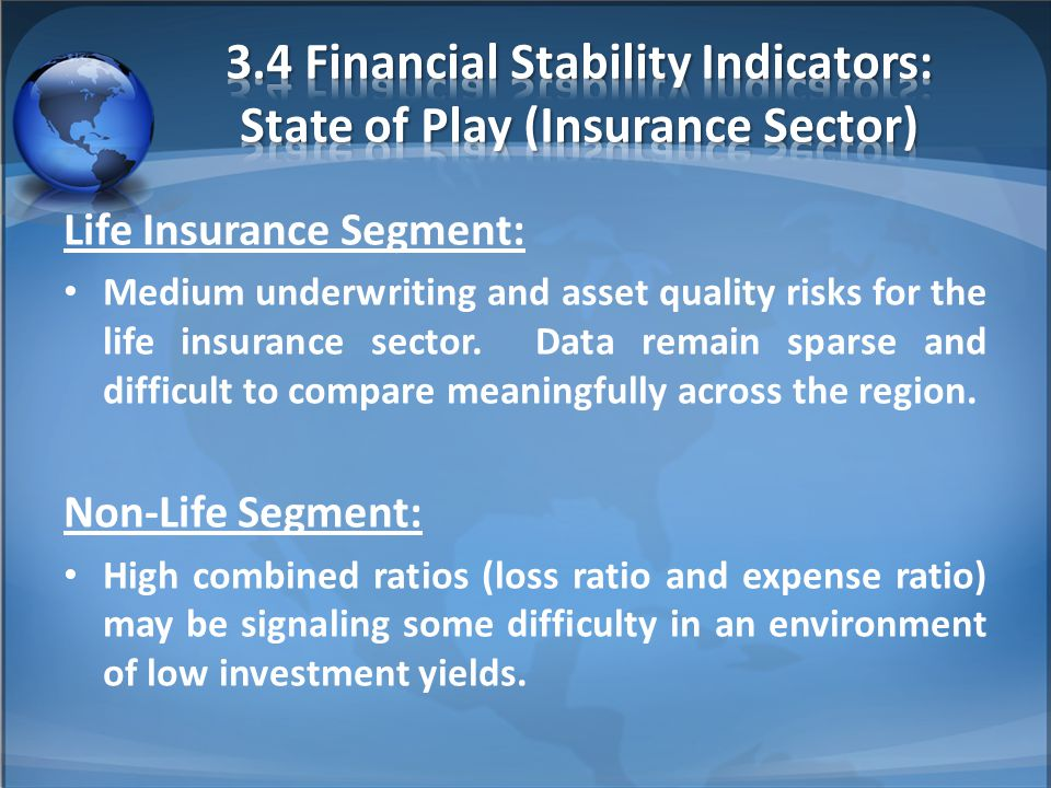 Life Insurance Segment: Medium underwriting and asset quality risks for the life insurance sector. Data remain sparse and difficult to compare meaning