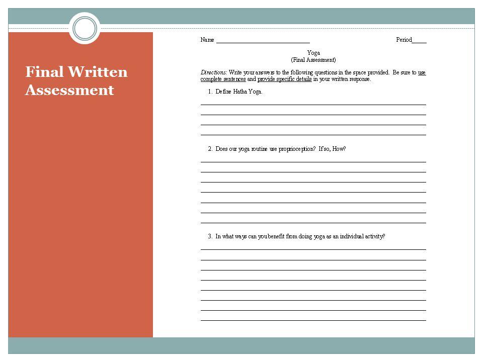 Final Written Assessment