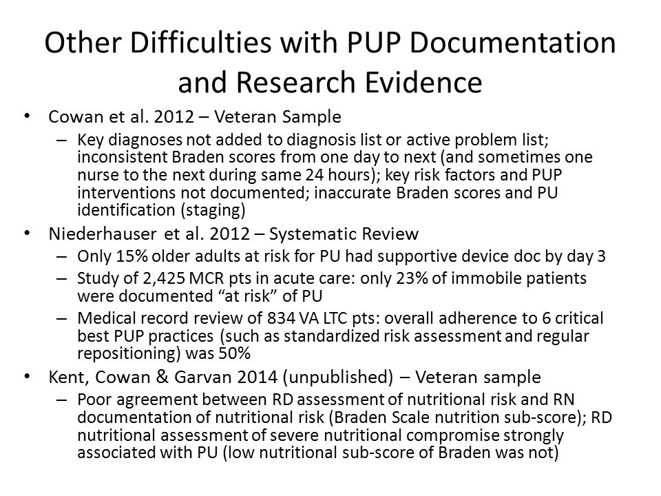 Other Difficulties with PUP Documentation and Research Evidence Cowan et al. 2012 – Veteran Sample – Key diagnoses not added to diagnosis list or acti