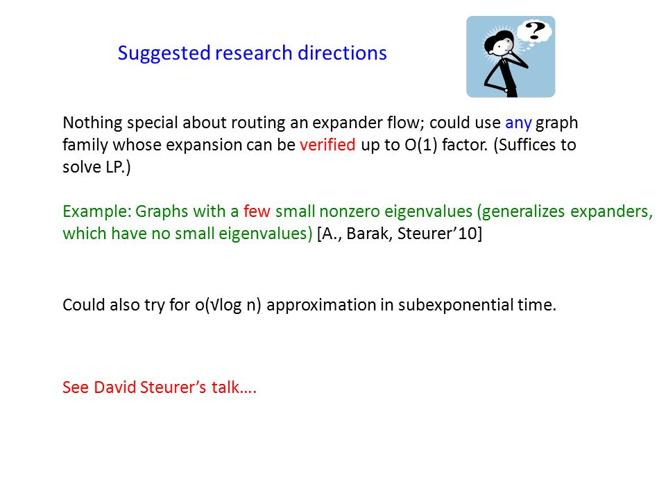 Suggested research directions Nothing special about routing an expander flow; could use any graph family whose expansion can be verified up to O(1) factor.