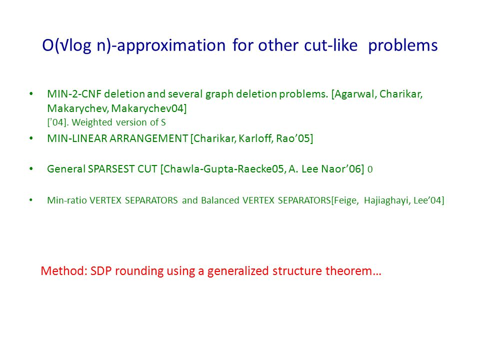 O(√log n)-approximation for other cut-like problems MIN-2-CNF deletion and several graph deletion problems.