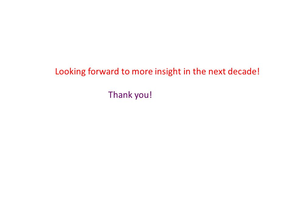 Looking forward to more insight in the next decade! Thank you!