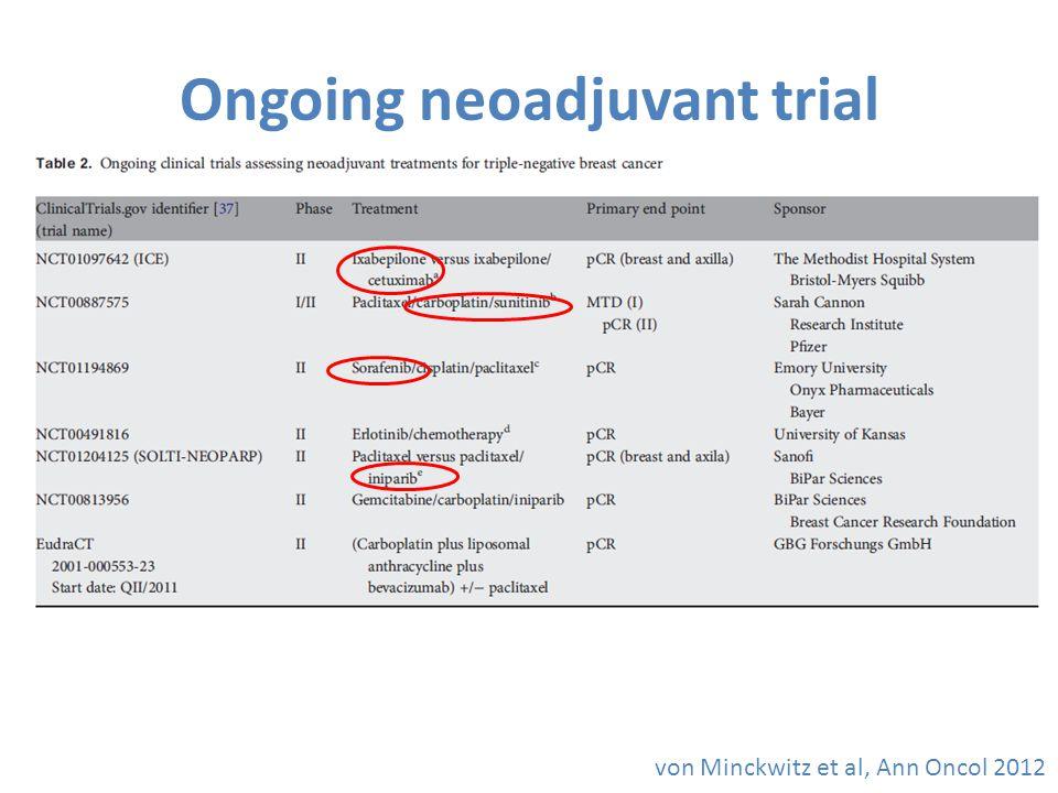 Ongoing neoadjuvant trial von Minckwitz et al, Ann Oncol 2012