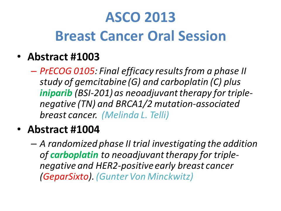 ASCO 2013 Breast Cancer Oral Session Abstract #1003 – PrECOG 0105: Final efficacy results from a phase II study of gemcitabine (G) and carboplatin (C) plus iniparib (BSI-201) as neoadjuvant therapy for triple- negative (TN) and BRCA1/2 mutation-associated breast cancer.