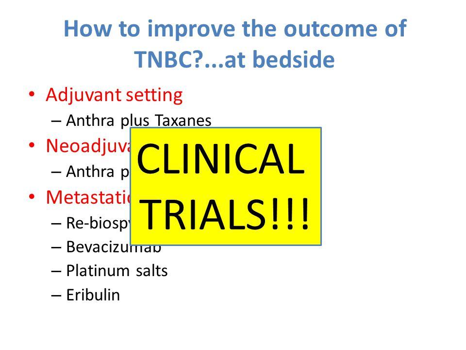 How to improve the outcome of TNBC ...at bedside Adjuvant setting – Anthra plus Taxanes Neoadjuvant setting – Anthra plus Taxanes Metastatic setting – Re-biospy – Bevacizumab – Platinum salts – Eribulin CLINICAL TRIALS!!!