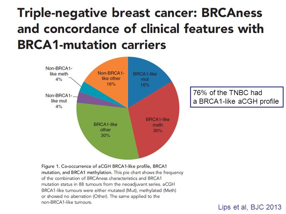 Lips et al, BJC 2013 76% of the TNBC had a BRCA1-like aCGH profile