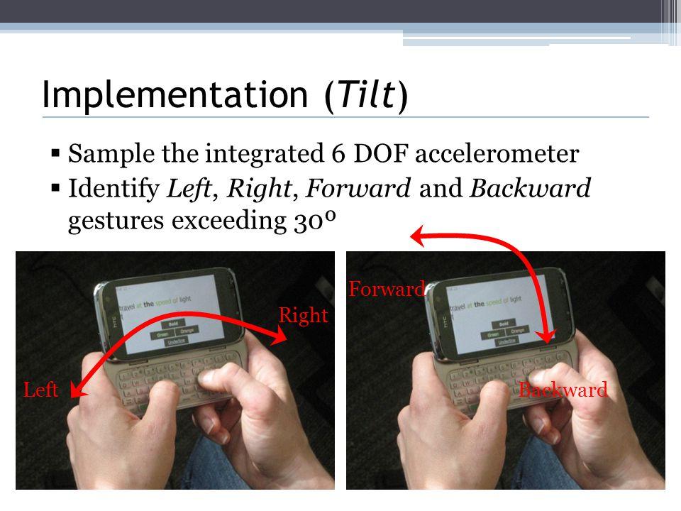 Implementation (Tilt)  Sample the integrated 6 DOF accelerometer  Identify Left, Right, Forward and Backward gestures exceeding 30º Left Right Forward Backward