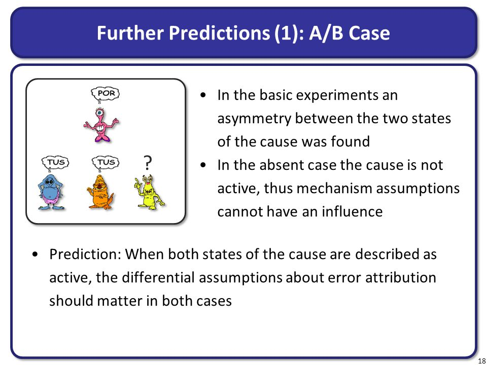 Further Predictions (1): A/B Case In the basic experiments an asymmetry between the two states of the cause was found In the absent case the cause is not active, thus mechanism assumptions cannot have an influence 18 .
