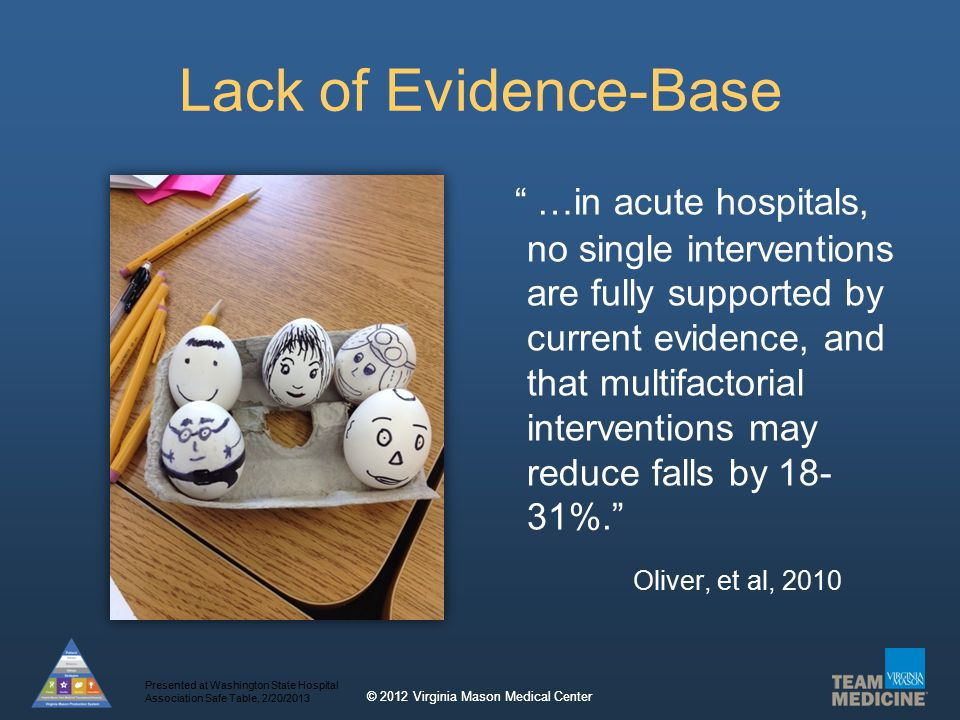 © 2012 Virginia Mason Medical Center Lack of Evidence-Base …in acute hospitals, no single interventions are fully supported by current evidence, and that multifactorial interventions may reduce falls by 18- 31%. Oliver, et al, 2010 Presented at Washington State Hospital Association Safe Table, 2/20/2013