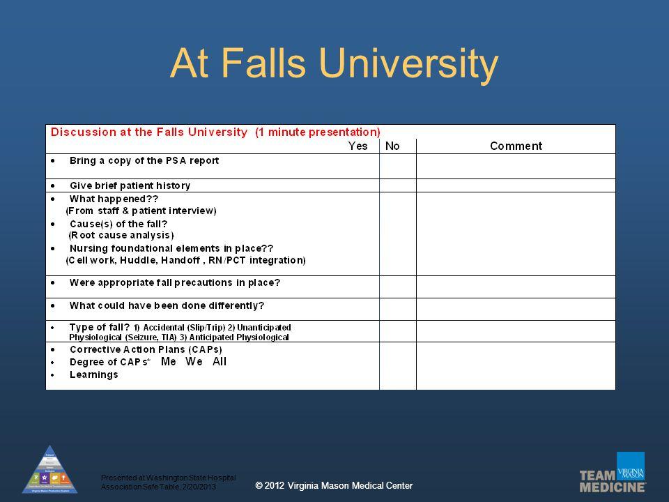 © 2012 Virginia Mason Medical Center At Falls University Presented at Washington State Hospital Association Safe Table, 2/20/2013