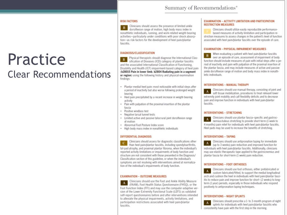 Practice Clear Recommendations