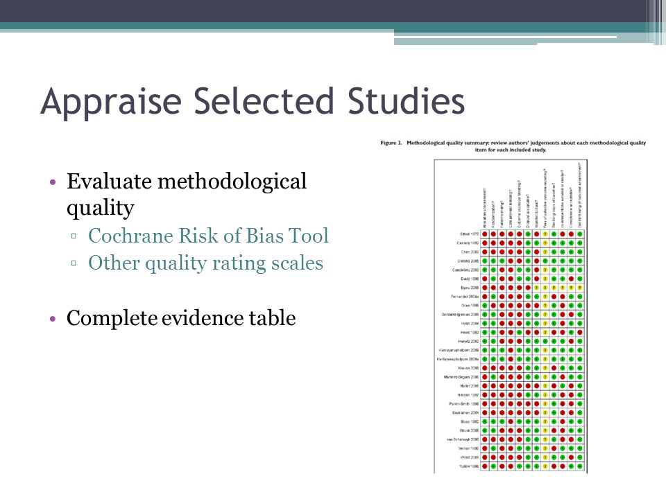 Appraise Selected Studies Evaluate methodological quality ▫Cochrane Risk of Bias Tool ▫Other quality rating scales Complete evidence table