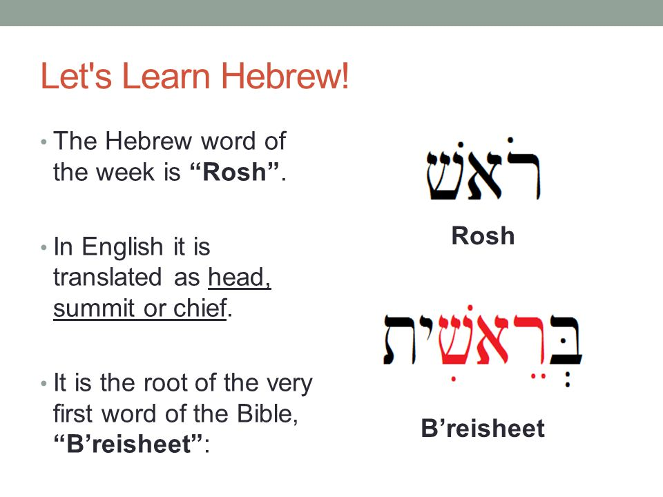 Let s Learn Hebrew. The Hebrew word of the week is Rosh .