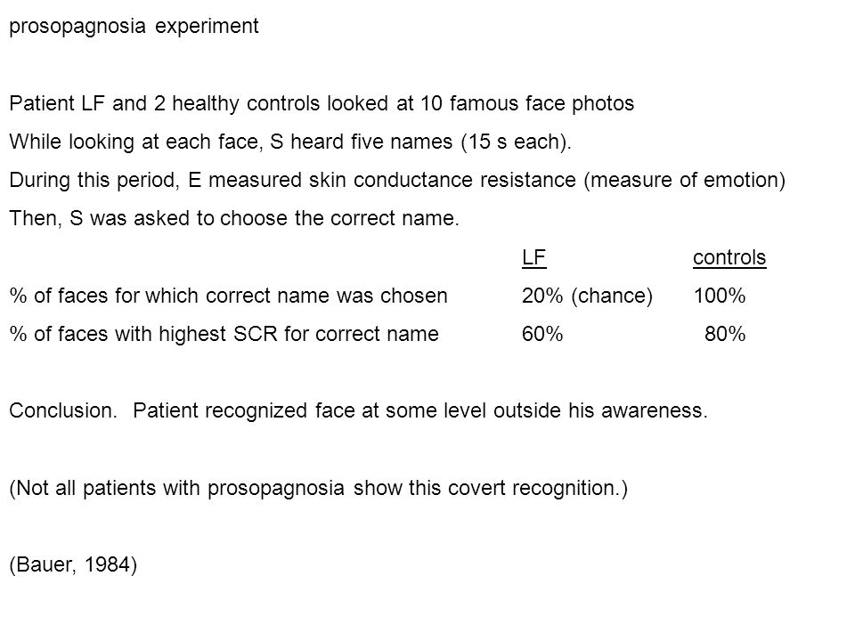 prosopagnosia experiment Patient LF and 2 healthy controls looked at 10 famous face photos While looking at each face, S heard five names (15 s each).