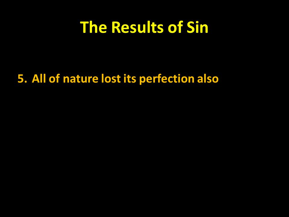 The Results of Sin 5.All of nature lost its perfection also