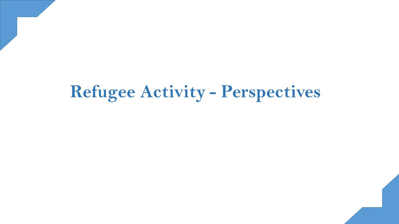 Refugee Activity - Perspectives