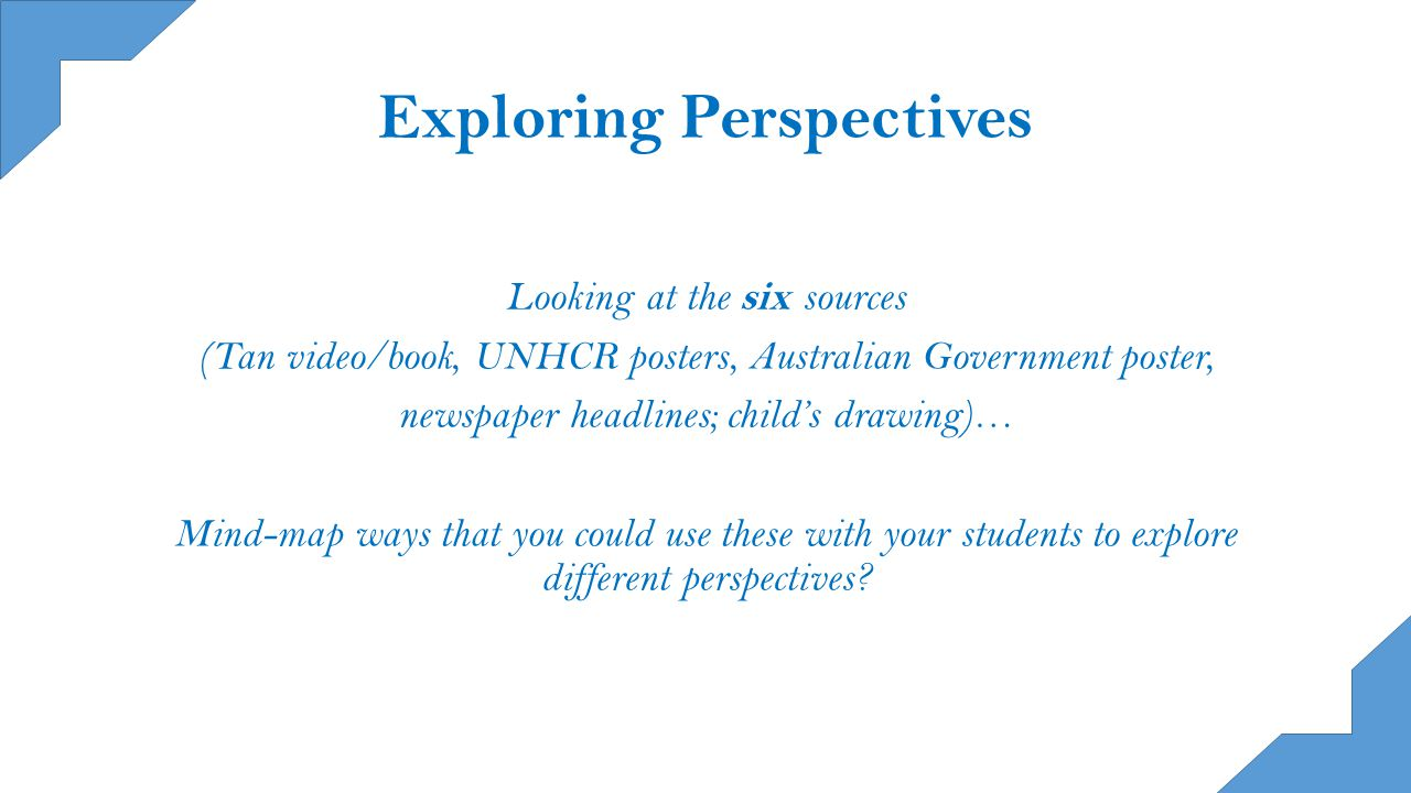 Exploring Perspectives Looking at the six sources (Tan video/book, UNHCR posters, Australian Government poster, newspaper headlines; child's drawing)… Mind-map ways that you could use these with your students to explore different perspectives?