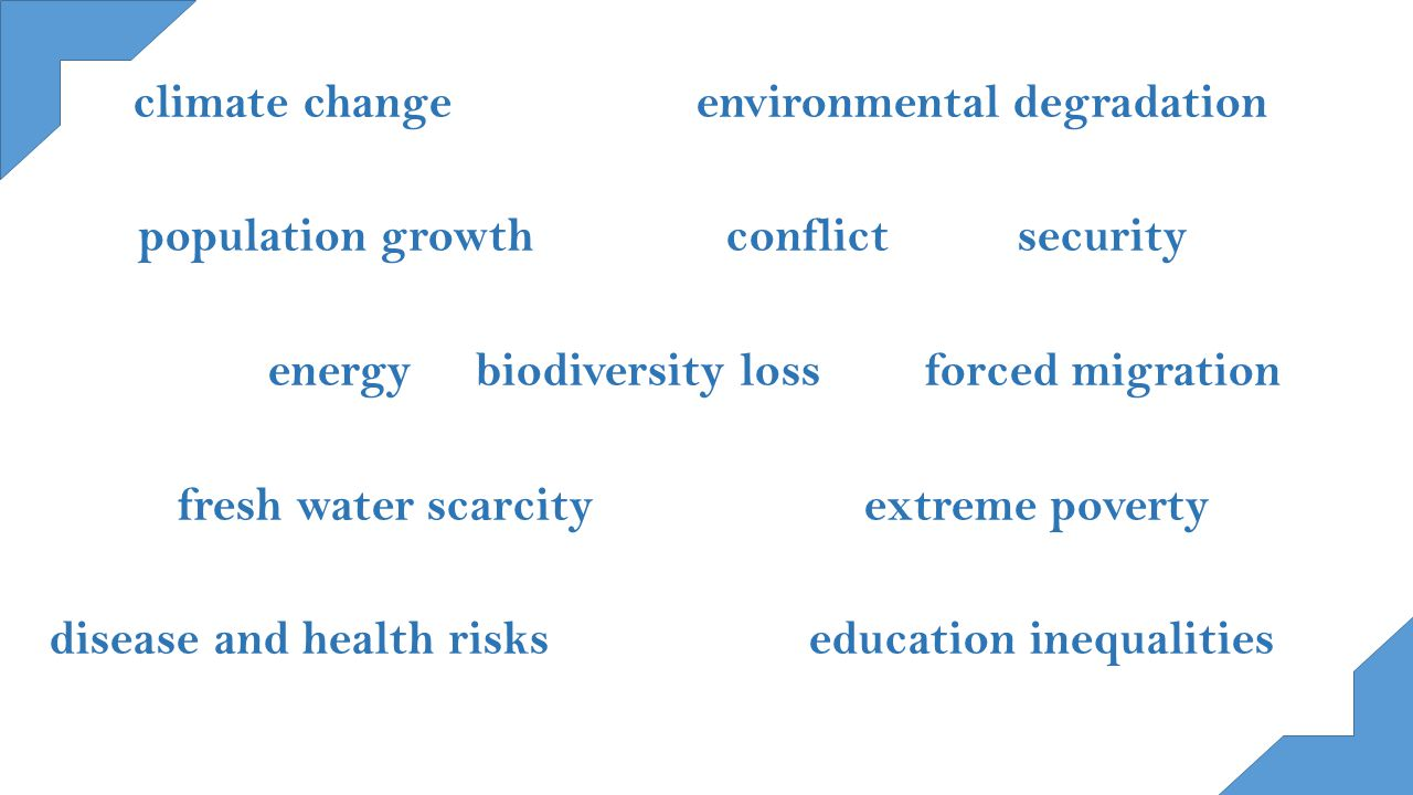 climate change environmental degradation population growth conflict security energy biodiversity loss forced migration fresh water scarcity extreme poverty disease and health risks education inequalities