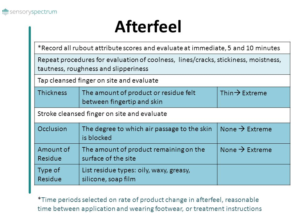 Afterfeel *Record all rubout attribute scores and evaluate at immediate, 5 and 10 minutes Repeat procedures for evaluation of coolness, lines/cracks, stickiness, moistness, tautness, roughness and slipperiness Tap cleansed finger on site and evaluate ThicknessThe amount of product or residue felt between fingertip and skin Thin  Extreme Stroke cleansed finger on site and evaluate OcclusionThe degree to which air passage to the skin is blocked None  Extreme Amount of Residue The amount of product remaining on the surface of the site None  Extreme Type of Residue List residue types: oily, waxy, greasy, silicone, soap film *Time periods selected on rate of product change in afterfeel, reasonable time between application and wearing footwear, or treatment instructions
