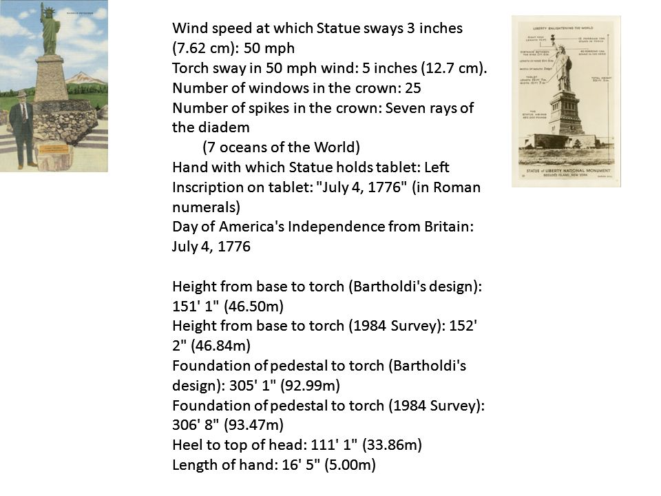 Wind speed at which Statue sways 3 inches (7.62 cm): 50 mph Torch sway in 50 mph wind: 5 inches (12.7 cm).