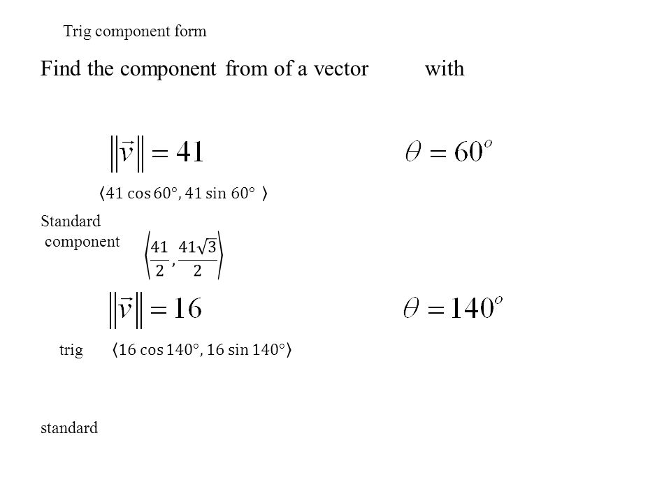 Find the component from of a vector with Trig component form Standard component trig standard