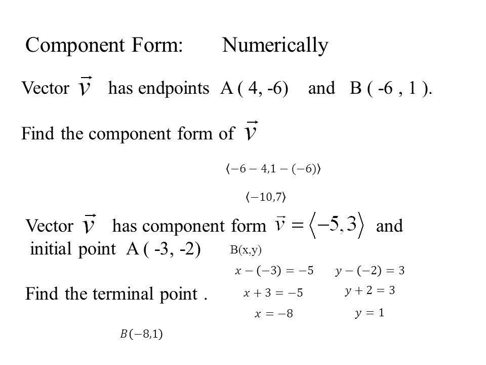 Component Form: Numerically Vector has endpoints A ( 4, -6) and B ( -6, 1 ).