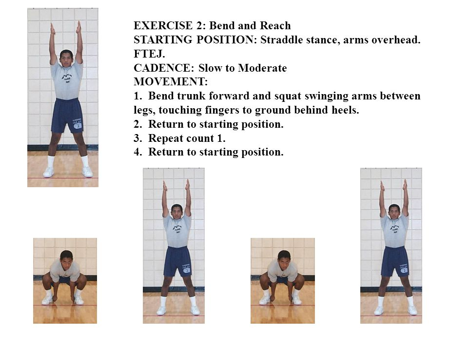 EXERCISE 11A: Turn and Bounce STARTING POSITION: Straddle stance, arms sideward and parallel to ground, palms up.