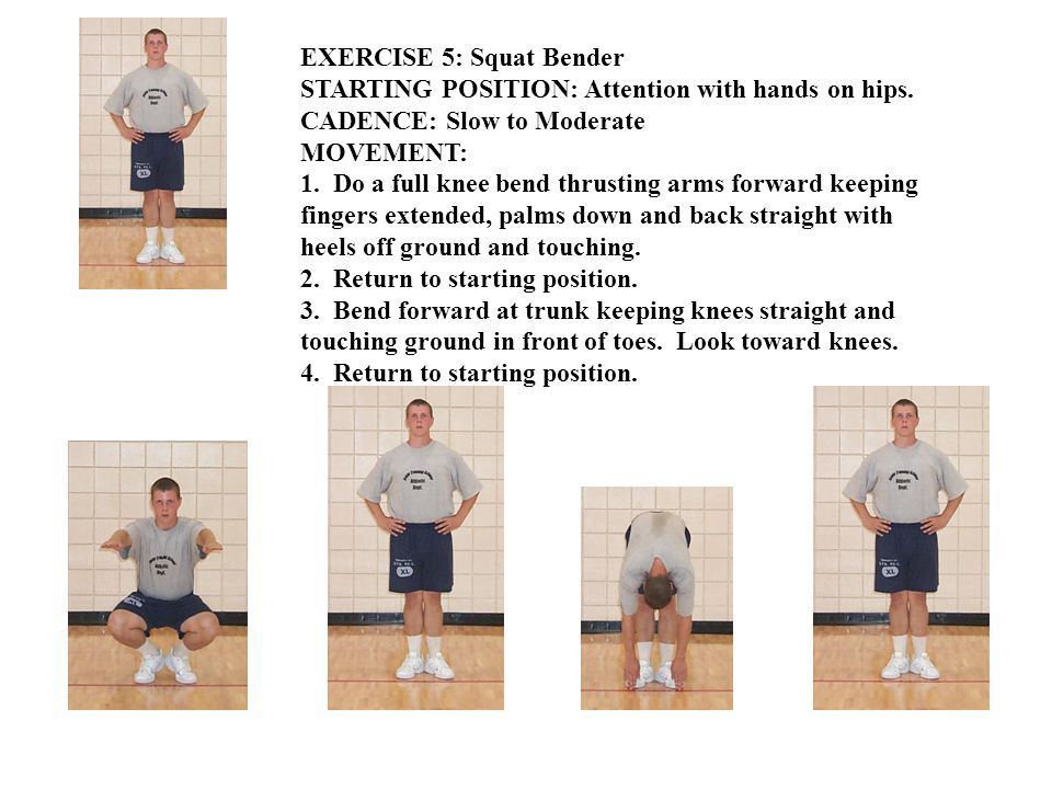 EXERCISE 5: Squat Bender STARTING POSITION: Attention with hands on hips. CADENCE: Slow to Moderate MOVEMENT: 1. Do a full knee bend thrusting arms fo