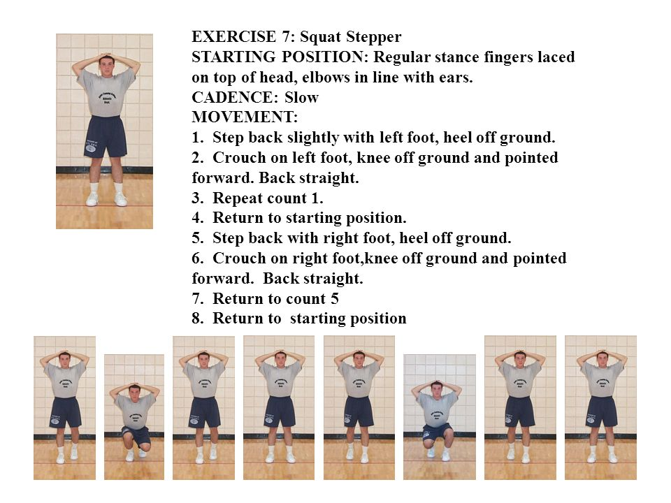 EXERCISE 8: Trunk Twister STARTING POSITION: Straddle stance, arms extended outward to sides, palms downward.