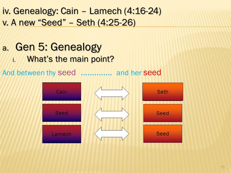 35 iv.Genealogy: Cain – Lamech (4:16-24) v. A new Seed – Seth (4:25-26) a.