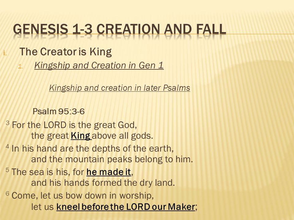 i. The Creator is King 1.