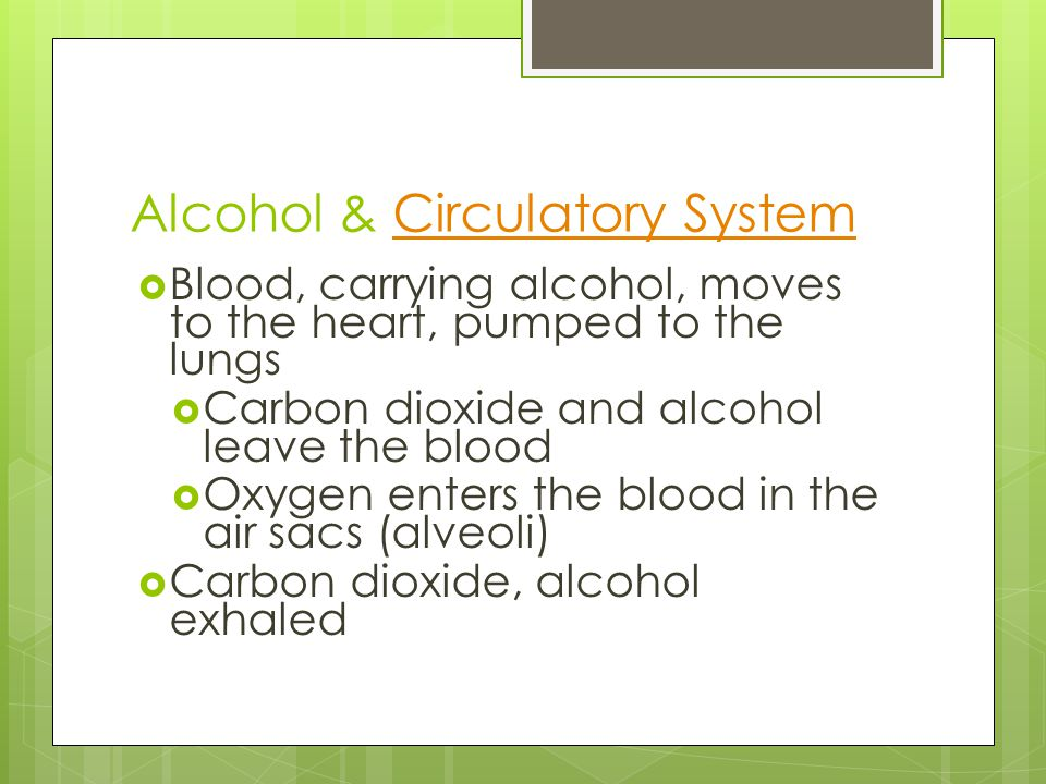 Alcohol & Circulatory SystemCirculatory System  Blood, carrying alcohol, moves to the heart, pumped to the lungs  Carbon dioxide and alcohol leave the blood  Oxygen enters the blood in the air sacs (alveoli)  Carbon dioxide, alcohol exhaled