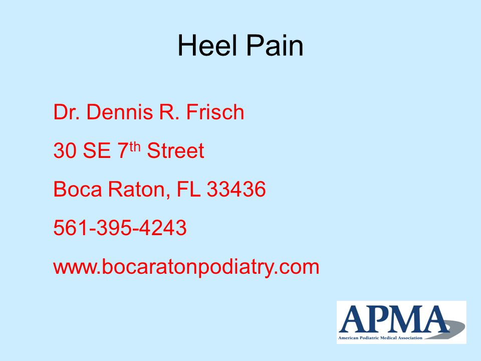 Plantar Fasciitis Inflammation and pain along the plantar fascia - the tissue band that supports the arch on the bottom of the foot Usually on the bottom of the heel at the point where the plantar fascia attaches to the heel bone Becomes chronic in 5-10% of all patients Is not necessarily associated with a heel spur Over 90% resolve with conservative treatment