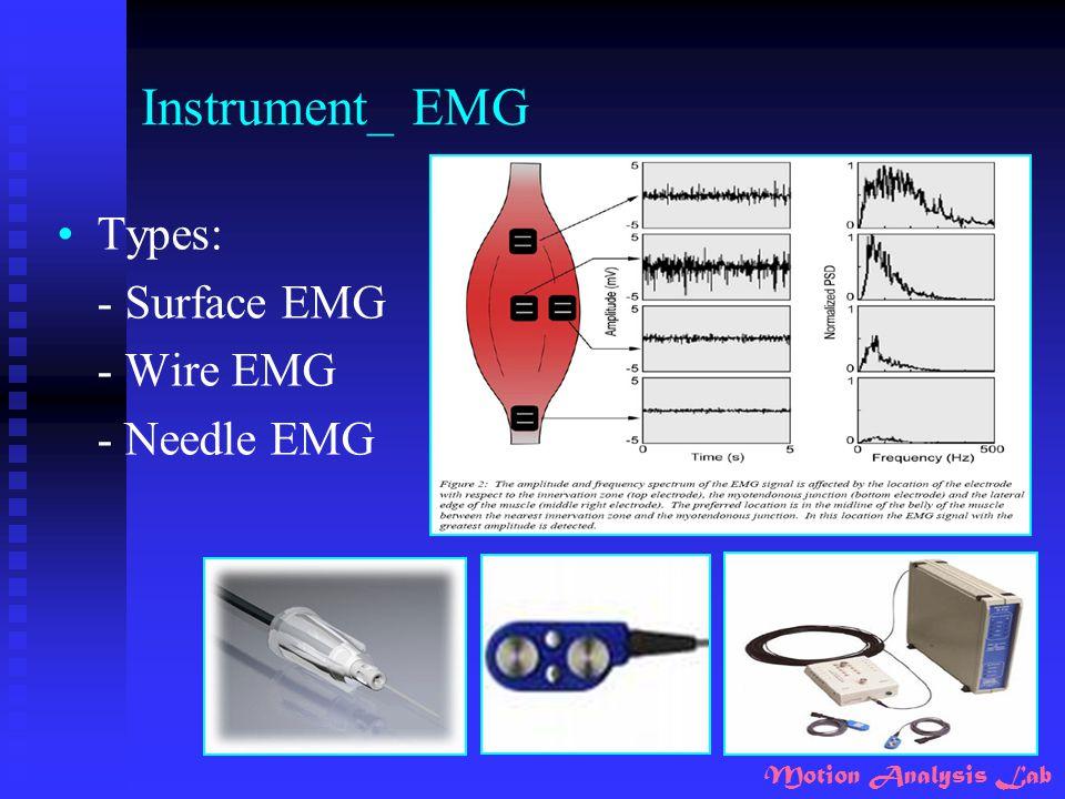 Motion Analysis Lab Instrument_ EMG Types: - Surface EMG - Wire EMG - Needle EMG