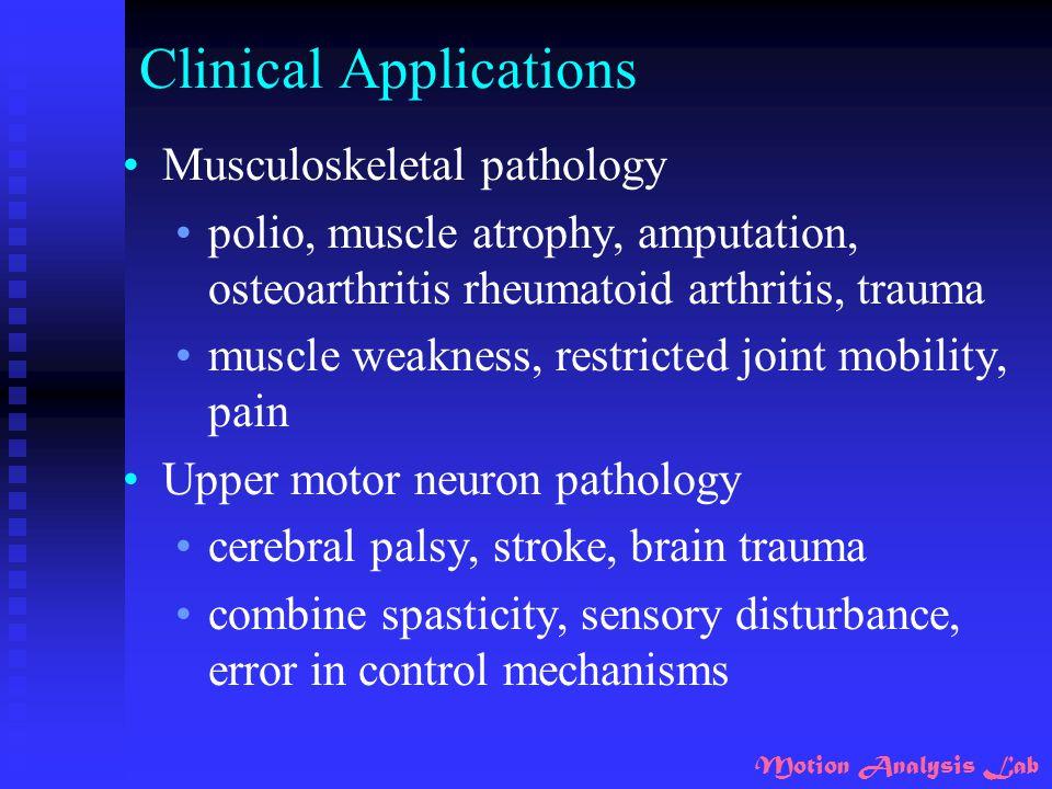 Clinical Applications Musculoskeletal pathology polio, muscle atrophy, amputation, osteoarthritis rheumatoid arthritis, trauma muscle weakness, restri