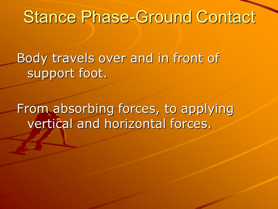 Stance Phase-Ground Contact Body travels over and in front of support foot.