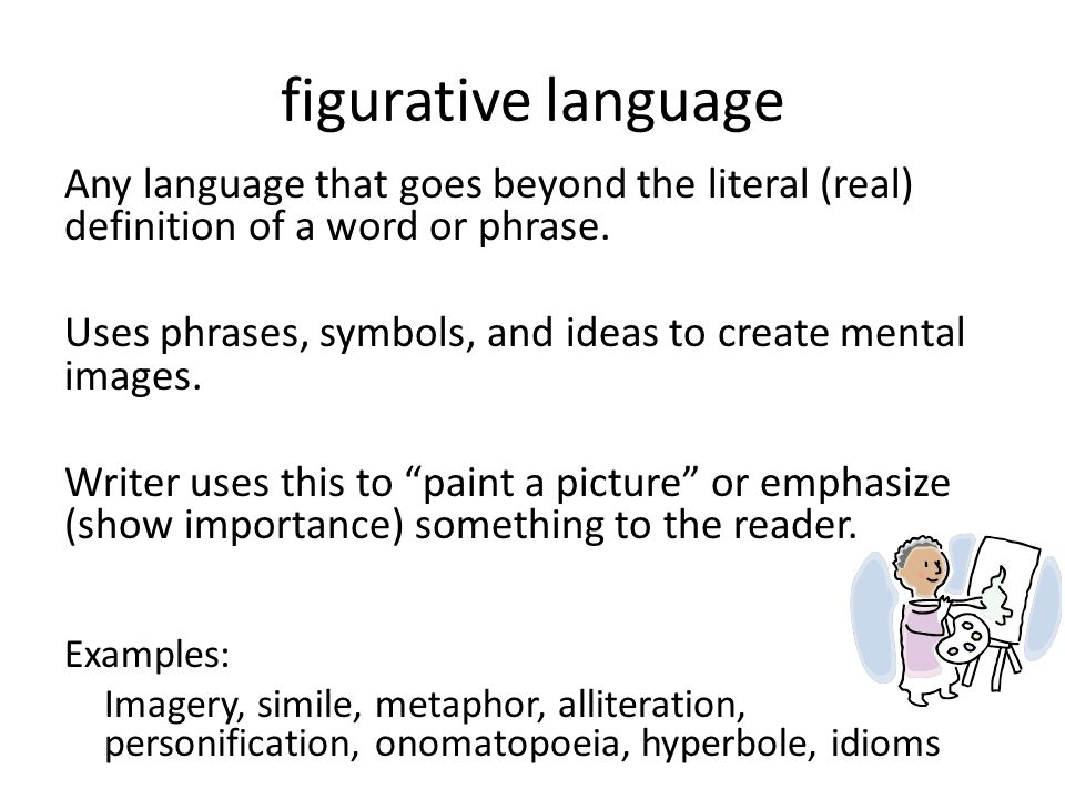 figurative language Any language that goes beyond the literal (real) definition of a word or phrase. Uses phrases, symbols, and ideas to create mental
