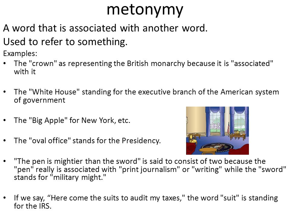 metonymy A word that is associated with another word. Used to refer to something. Examples: The